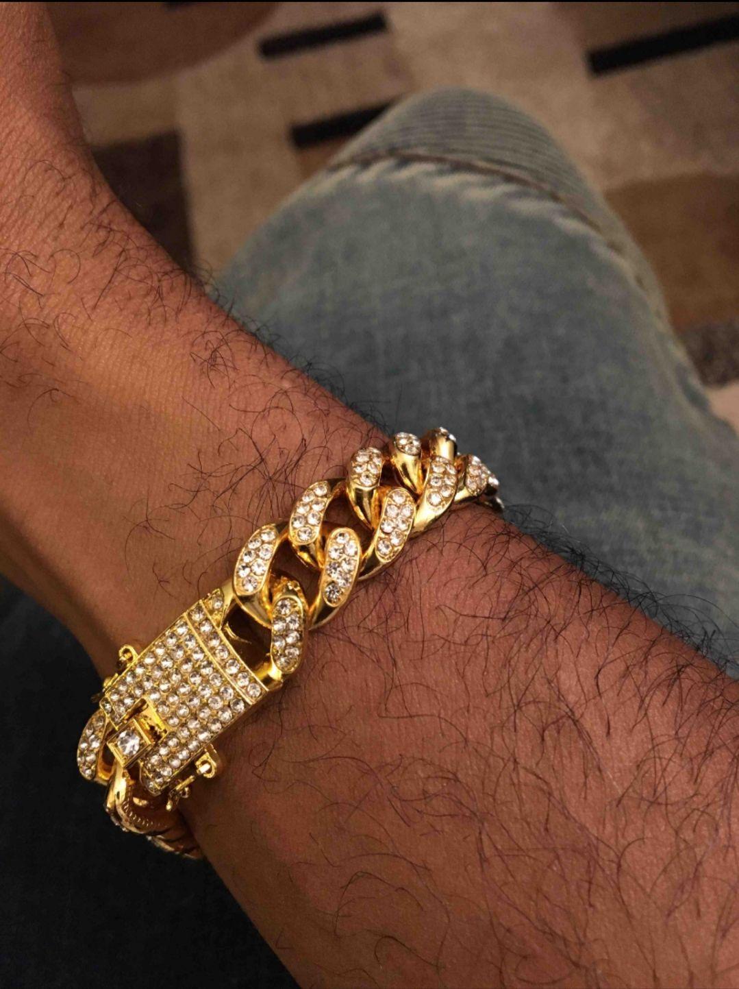 New Hip Hop Gold Bracelets Mens Simulated Diamond Bracelets Jewelry Fashion Iced Out Miami Cuban Link Chain Bracelets