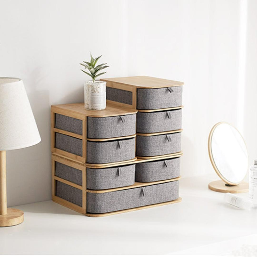 Bamboo Oxford Cloth Multilayer Storage Box Makeup Organizer Case Drawers Home Storage Organizer Office Sundries Container Boxes