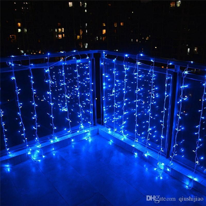 10 * 1m 448 Bulbs Outdoor Garland LED Curtain Fairy Lights Christmas Lights Decoration For Wedding Holiday Party EU US AU UK Plug