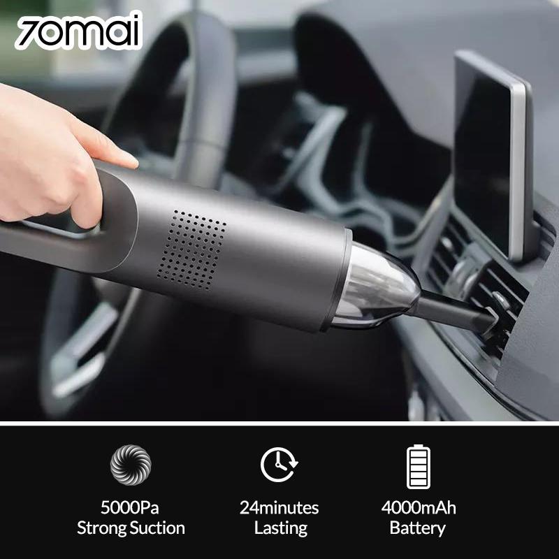 70mai auto aspirapolvere portatile Aspirapolvere Auto palmare wireless per la casa auto Mini collettore di polveri forte ciclone di aspirazione