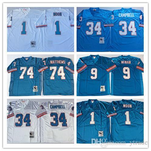 NCAA Oilers Vintage-Jersey # 9 Steve McNair # 34 Earl Campbell # 74 Bruce Matthews # 1 Warren Moon Trikots Weiß Light Blue genähtes Hochschule