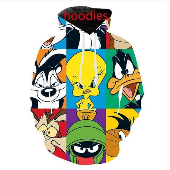 Qualität Mens Looney Designer Cartoon tunes Hoodies Sweatshirts 3D-Druck Unisex SweatshirtHoodie Männer / Frauen AA031
