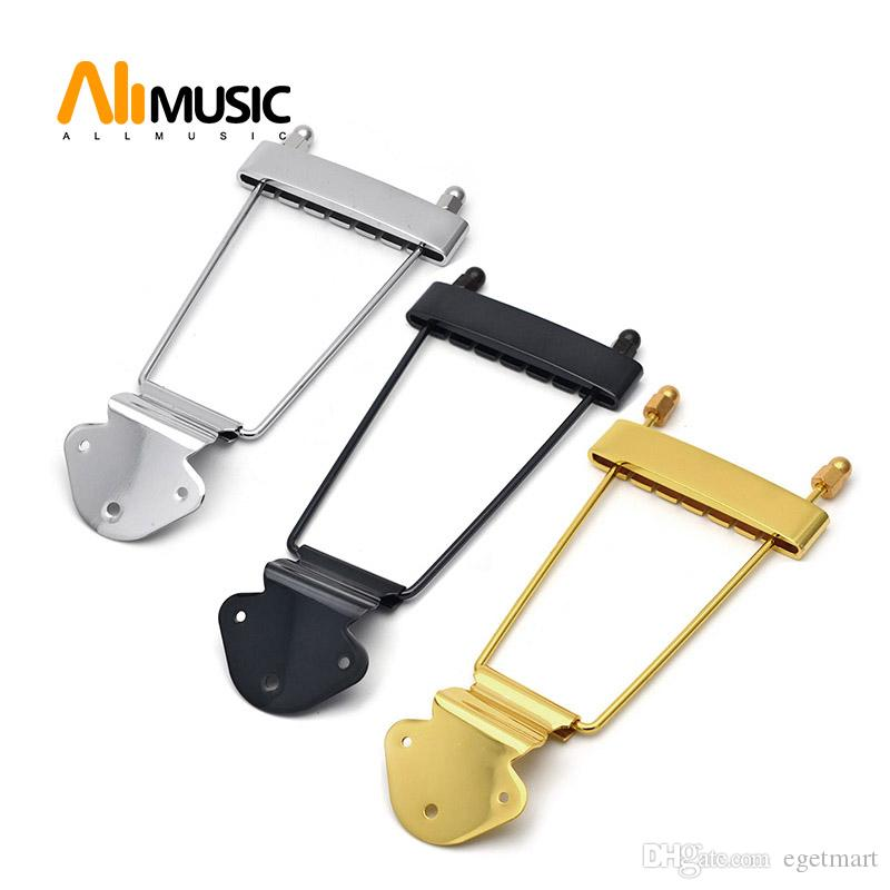 6 String Jazz Archtop Guitar Trapeze Tailpiece Hollow Electric Guitar Chrome Black Gold