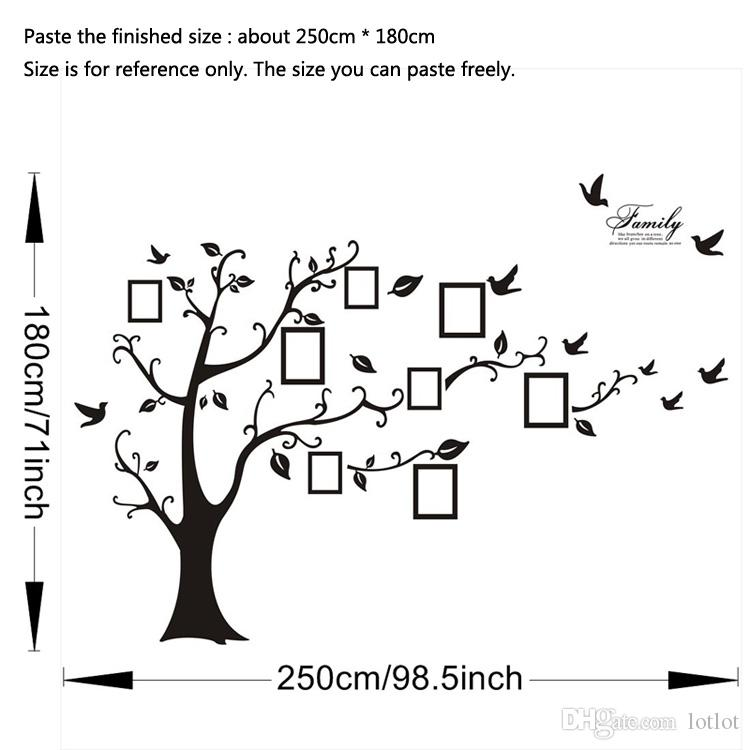 كبير 250 * 180 سنتيمتر / 99 * 71in الأسود 3d diy صور شجرة pvc جدار الشارات / لاصق الأسرة ملصقات الحائط جدارية الفن ديكور المنزل الشحن مجانا