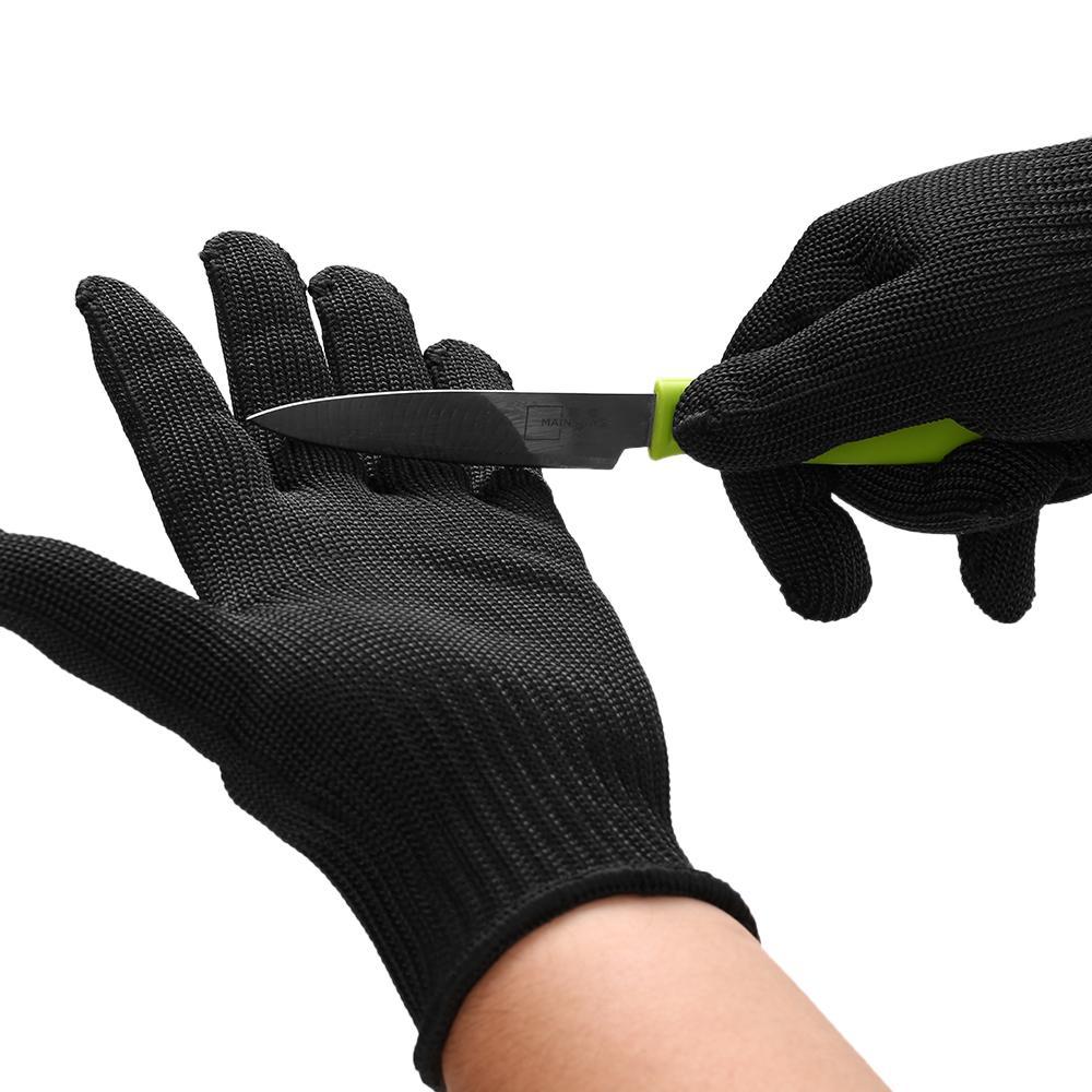 5 مستوى الحماية المضادة للقطع قفازات الصيد الصيد قفازات قطع شبكة معدنية جزار ارتداء مقاومة المطبخ قفازات العمل الصلب