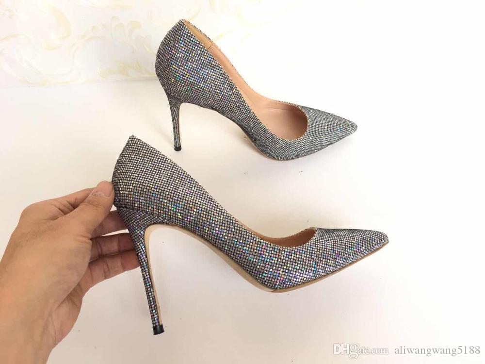 Bombas de 2019 o envio gratuito de moda mulheres novo multi Glitter lantejoulas Toes casamento Poined sapatos de salto alto sapatos de salto stiletto 12 centímetros 10 centímetros