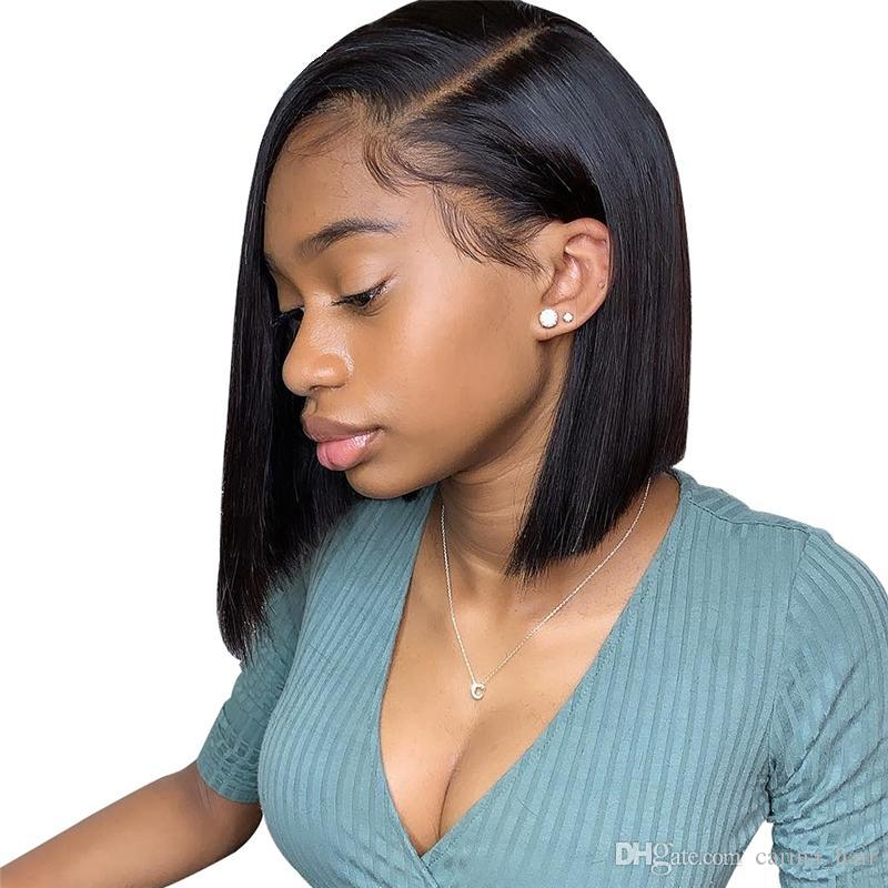 Short Bob Wig 8-14Inch Brazilian Straight Remy Hair Lace Front Human Hair Wigs Deep Part Lace Front Wig For Black Women
