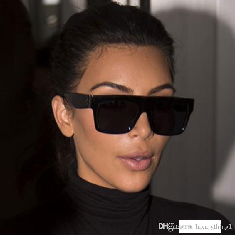 HapiGOO Fameuses Italie Marque Designer Kim Kardashian Lunettes de soleil carrées Femmes Vintage Flat Top Lunettes de soleil Femme