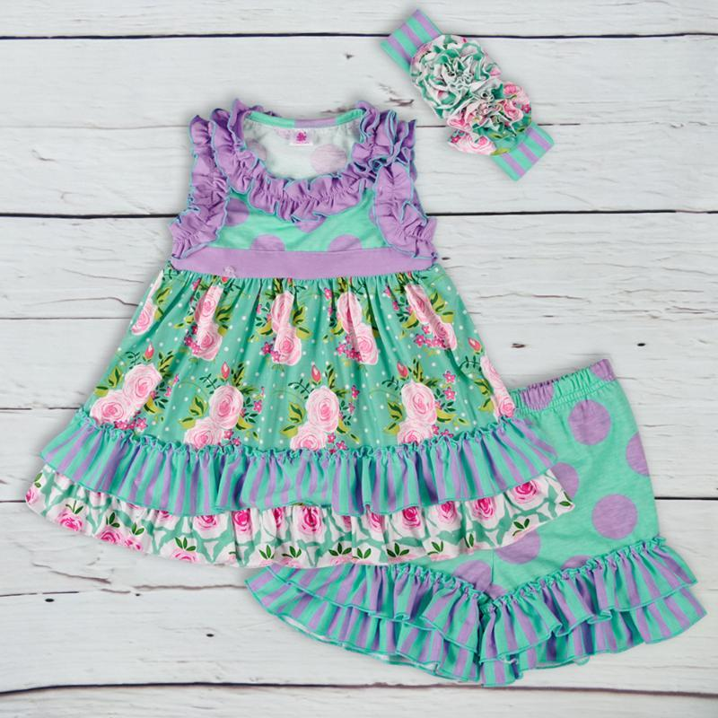 Popular Floral Girls Lovely Summer Clothing Sets Print Top With Button Striped Shorts Ruffle Kids Matching Headband