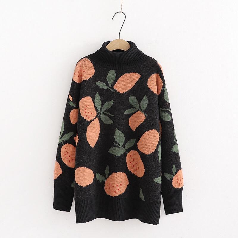 Women Casual Pullover Winter-warmer Turtlecneck Süße Jumpers Warm Pull Strick Maxi-Strickjacke Obst Pullover