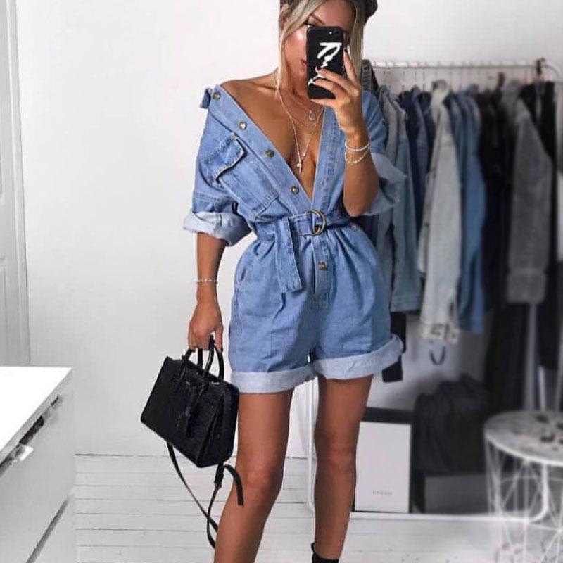 Salopette da abbigliamento estivo da donna Jeans a vita alta Pantaloni slim Bf Maglioni allentati Pantaloncini da tasca Risvolto Tuta Denim Casual Streetwear Y19071801
