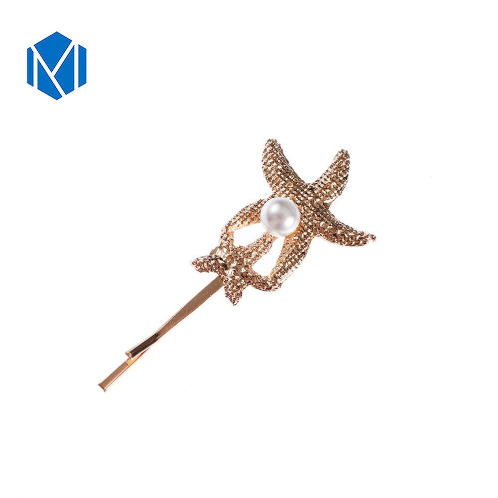 New K Pop Bling Bling Gold Hair Clips For Women Silver Silver Hairpins Pearl Starfish Accesorios Para El Cabello Girls