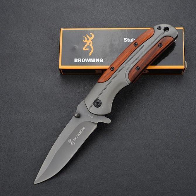Browning Couteau DA43 Couteaux de pliage Titanium 3CR13MOV 55HRC Poignée en bois TACTIQUE Camping Camping Hunting Survival Utilitaire de poche EDC Outils pour cadeau