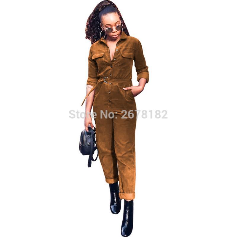 Casual delle donne delle tute in velluto a coste pagliaccetti a maniche lunghe con tasche e bottoni del cinturino Solid Pants Brown Khaki Sport lunghi Outfit