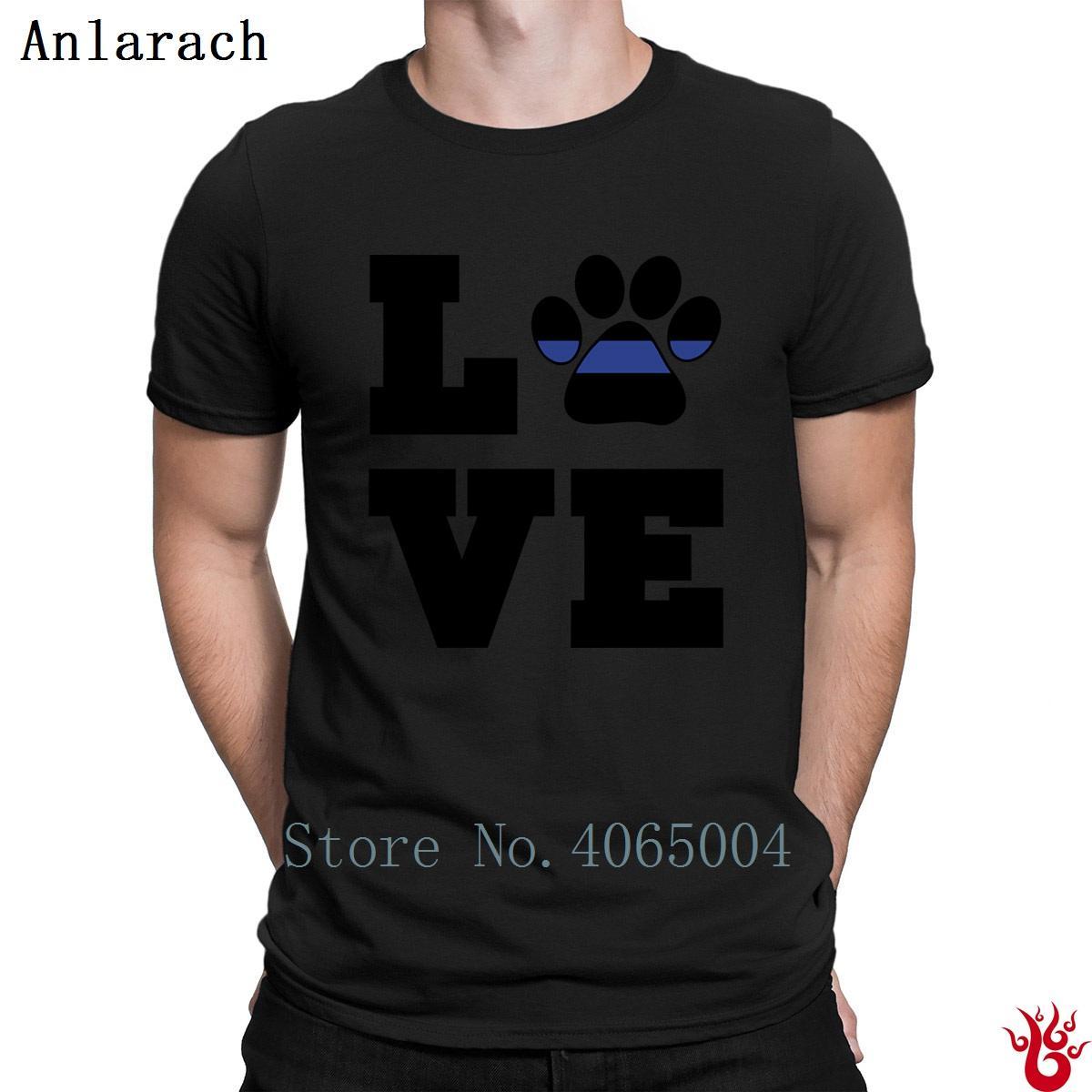 Camiseta Amor do cão da polícia K9 Paw Print T-shirt normal Costume O Neck 100% dos homens Cotton 2018 Comical Designs Hiphop gráfico