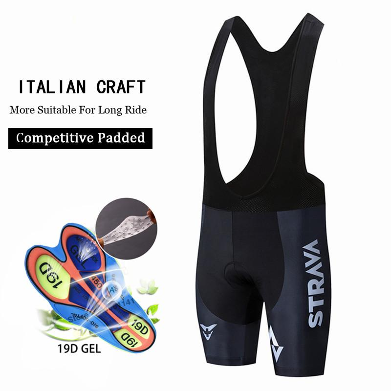 STRAVA Italy Silicon Grippers at Leg Classic Bib Cycling Shorts Race Bicycle Bottom Ropa Ciclismo Bike Pants With Pro 19D Pad