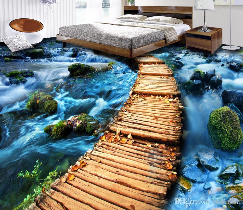 Самоклеящиеся обои 3D настил деревянный мост водонепроницаемый кухня стикер 3D настил ПВХ обои домашнего декора