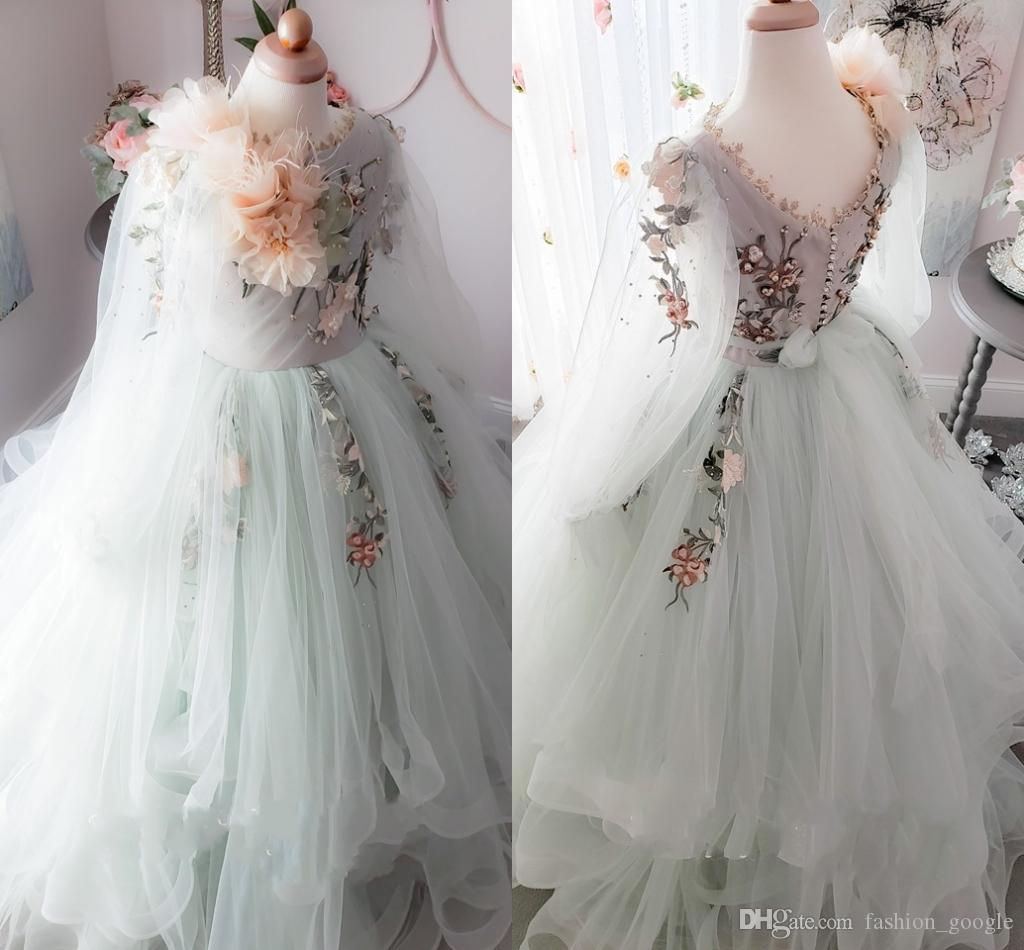 Fairy Inspired Flower Girls Dresses 2019 Embroidered Floral Sweep Train Sage First Communion Dress for Little Girl Hand Flowers Long Sleeves