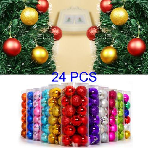 24 шт Набор рождественские шары украшения блесна венчания партии подарка Xmas Орнамент Довольно Сплошной цвет Bling Xmas Болл