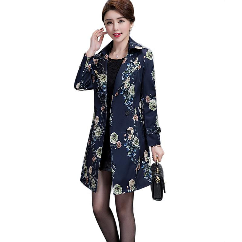 iddle-aged mother Spring Autumn Classic Trench Coat Women Fashion Slim long Double Breasted Coat Ladies Casual Mujer Casaco