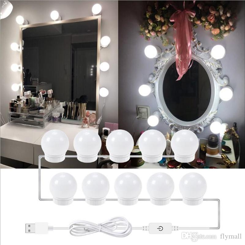 2019 Led Usb Makeup Mirror Light Bulb Hollywood Vanity Lights Stepless Dimmable Wall Lamps 6 10 14bulbs Kit For Dressing Table Bathroom Toilet From