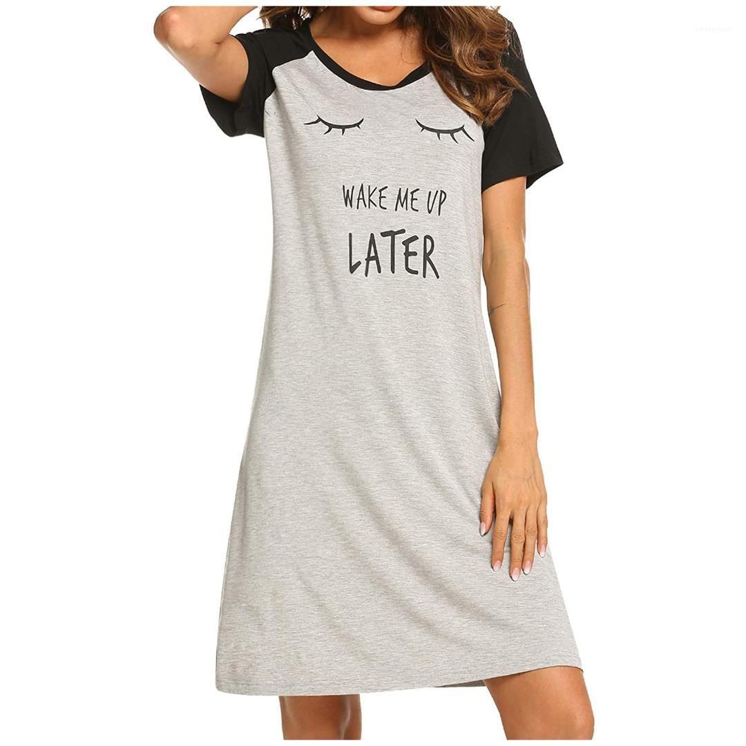 Ladies Home Kleidung Frauen Solid Color Cotton Blend-Nachtwäsche Sommer neue beiläufige Frauen Nachtwäsche Crew Neck Short Sleeve