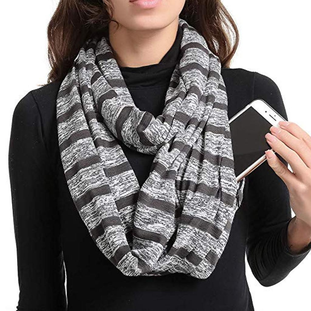 Women Solid Winter Neck Scarf Pocket Loop Zipper Pocket Scarves