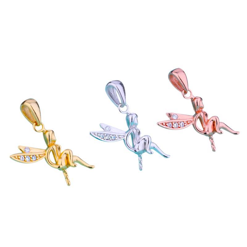 Sterling 925 Silver Women Pendant Angel CZ fit 5-12mm Round Bead Pearl Semi Mount Pendant Setting Wholesale