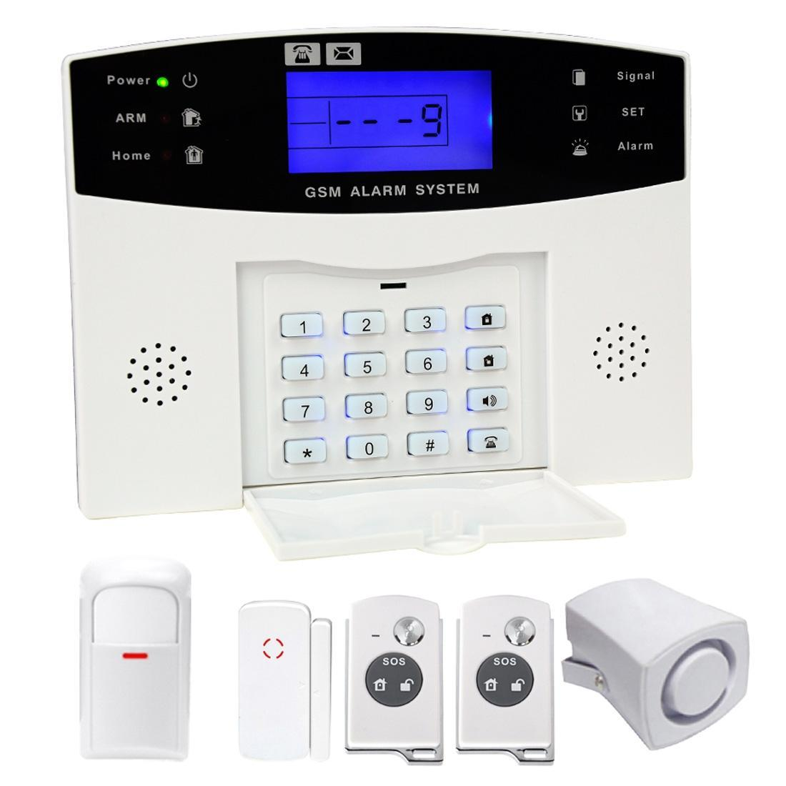 YA-500-GSM 6 in 1 Kit Wireless 315MHz GSM SMS Security Home House Burglar Alarm System with LCD Screen