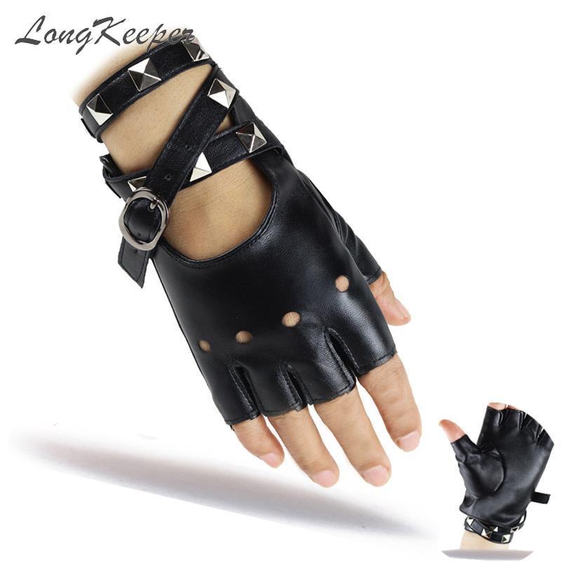 LongKeeper Половина пальцев перчатки Женщины Rivet Кожа PU Танцы Рок Панк Guantes Fingerless Hip Hop варежки Luvas