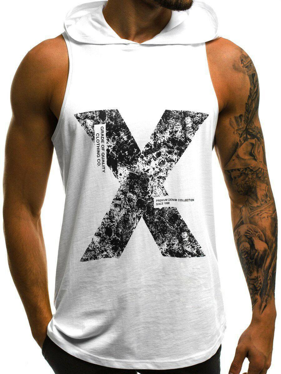 Muscle NUEVOS hombres de gimnasia sin mangas de las camisetas Plain Tee una camisa de impresión de la letra de algodón para hombre con capucha Top de manga corta X