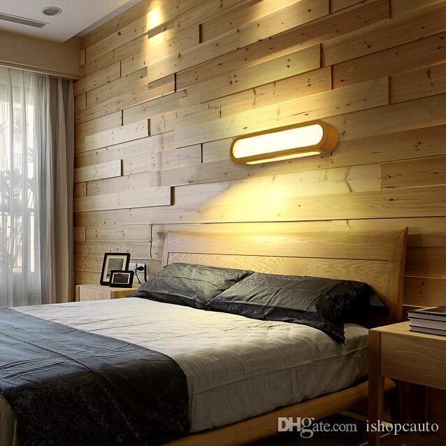 Acquista Creativo Nordic Camera Da Letto Applique Da Parete In Legno 110  240 V Foyer Studio Sfondo Lampada Bagno Specchio Di Illuminazione I131 A ...