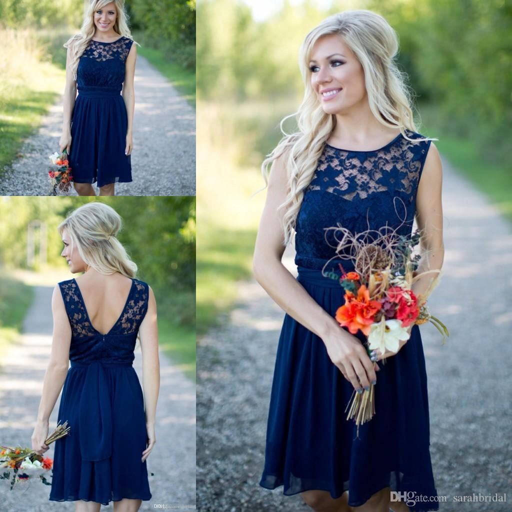 2020 Short Cheap Lace Chiffon Bridesmaid Dresses with Jewel and Sash Custom Made Dress for Wedding