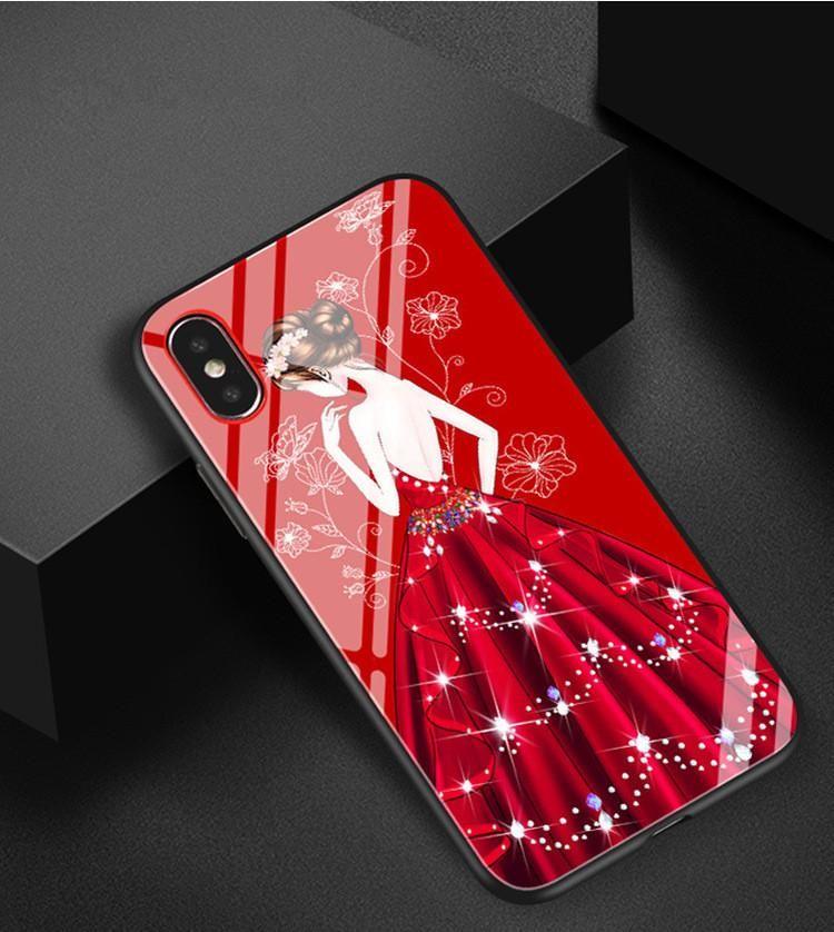 Iphone için 8 Telefon Kılıfları Kız Tanrıça temperli cam Herşey Dahil Silikon Karikatür Kız Cep Telefonu Kılıfı için Iphone 6 7 6s Artı