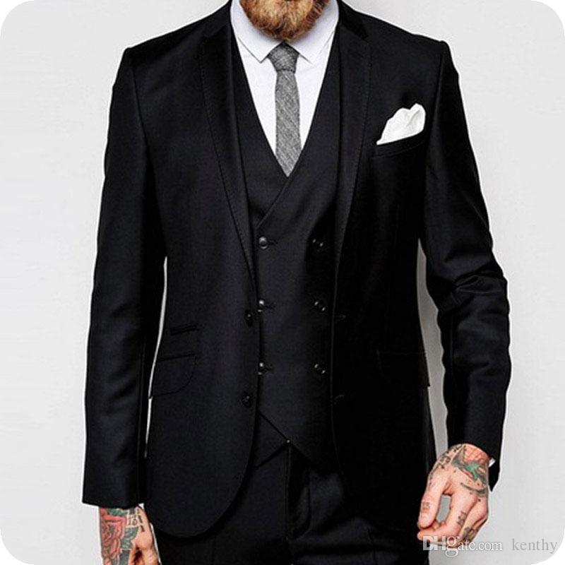 Custom Made Homens Negros Ternos 2019 Padrinhos de Casamento Wear Slim Fit Noivo Smoking 3 Peças Double Breasted Vest Calças Casaco Traje Homme Festa