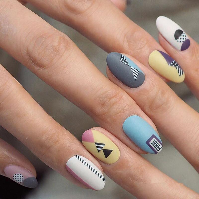 Треугольник Круглый ногтей Наклейки Ультратонкие ногтей Таблички с помощью клейкой Art наклейки Белый Черный Золотой Dots Геометрия Форма