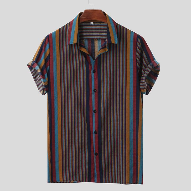 Homens camisa casual 2020 listrado colorido dos retalhos lapela Camisa de manga curta botão Summer Fashion camisas havaianas homens Streetwear