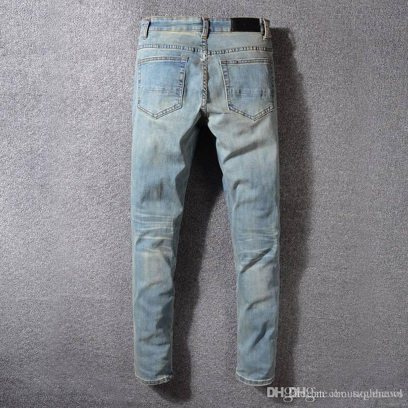 Jeans biker da uomo strappato per jeans slim fit uomo designer pants moda denim mens designer hip hop jslqv