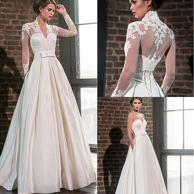 Элегантный милая атласное свадебное платье 2020 с жакетом с длинным рукавом длиной до пола мусульманские свадебные платья карманы Robe De Mariage