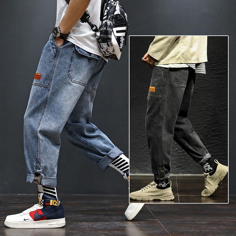 SK4hw Osbn4 2020 ressort hiphop / Eté été Harlan hommes denim pantalon droit Harlan Harajuku de neuf points loose Casua denim droite