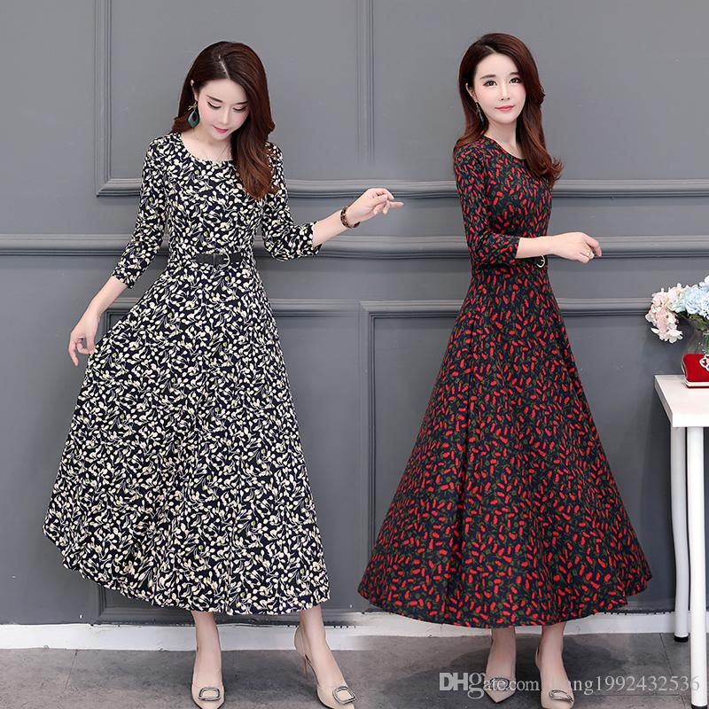 low cost really cheap incredible prices 2018 Autumn And Winter Clothing New 40 50 Years Old Middle Aged Mother With  Floral Dress Slim Long Section Skirt Dress Styles For Ladies Women Floral  ...