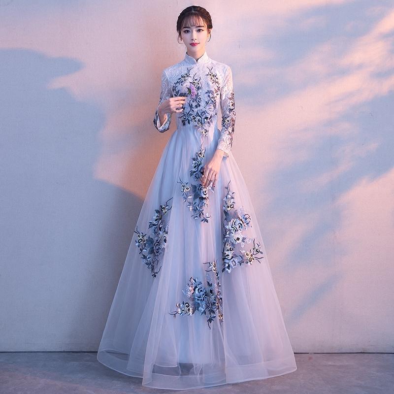 2019 Winter Brautjungfer Hochzeit Voll Leng A-Line Kleid Dünne Blume Chinesischen Stil Stehkragen Kleider Cheongsam Party Qipao