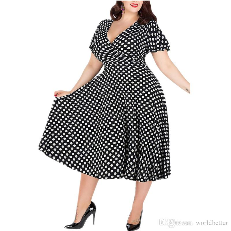 2019 Plus Size Women's Polka Dot Summer V-neck Large Size Lady Mid Waist Casual Maxi Dress 5XL Big Size