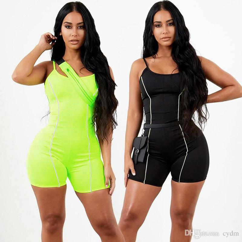 스팟 2020 유럽 봄과 여름 패션 반사 스트립 캐주얼 세트 섹시한 홀터넥 민소매 점프 수트, 혼합 배치를 지원