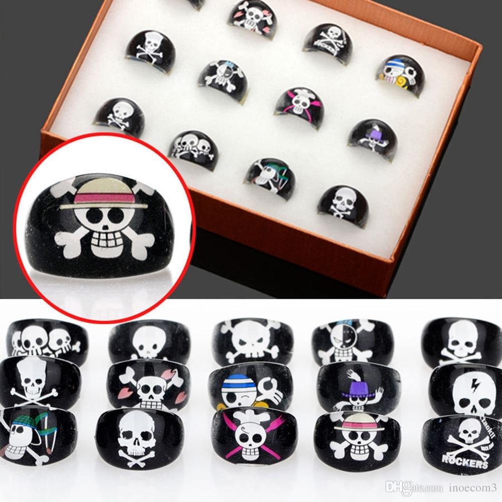 100pcs/Lot (Inner Diameter 15mm)Black Resin Skull Animal Ring Women's Children Kids Fashion Finger Rings Party Jewelry