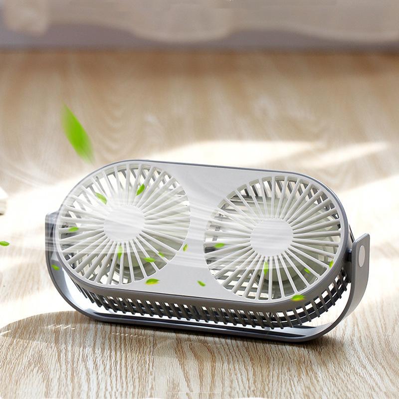 New adzuki bean double head desktop fan creative multifunctional aromatherapy fan office mini usb small fan