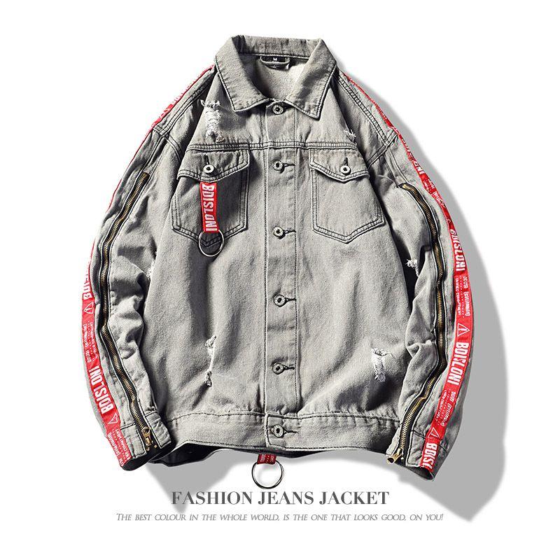 Mens Jackets Tendência Mens Vestuário Outono e Inverno Moda Denim Retro clássico Jacket Ripped Lavados Carta Stripe Side Tamanho Grande M-3XL