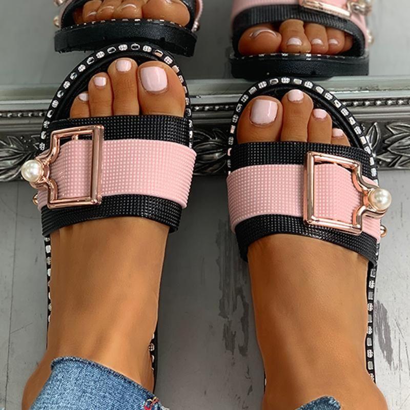 Sapatos New Womens Moda Praia Chinelos Slides Verão Plano de cristal Sandálias Flat Outdoor Feminino calçados casuais Zapatos Mujer