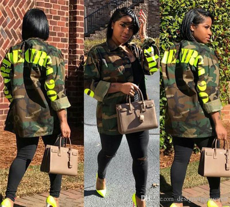 Весенние женские камуфляжные куртки повседневные женские письма напечатаны пальто моды дизайнер отворот шеи пальто с одиночной грудью