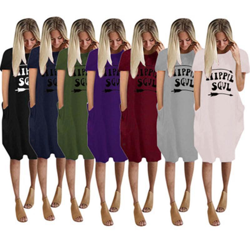 Mode Femmes Imprimer Nouveau Robe d'été Designer Nouvelle courte lettre manches Imprimer Robe ample Femme col rond manches longues Section Casual Robe Pocket